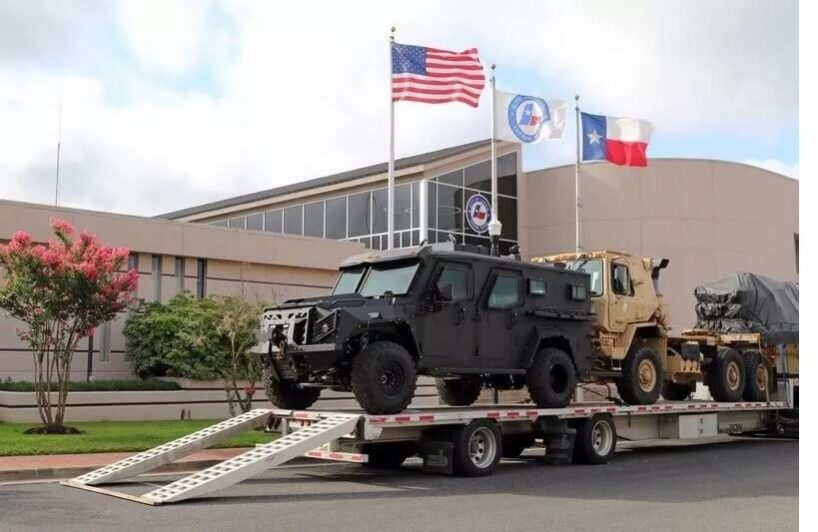 TAG Lufkin TX BATT-X Multiple Armored Trucks Transported Flags