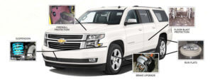 The Armored Group Chevy Suburban White Suspension Firewall Protection Floor Blast Protection